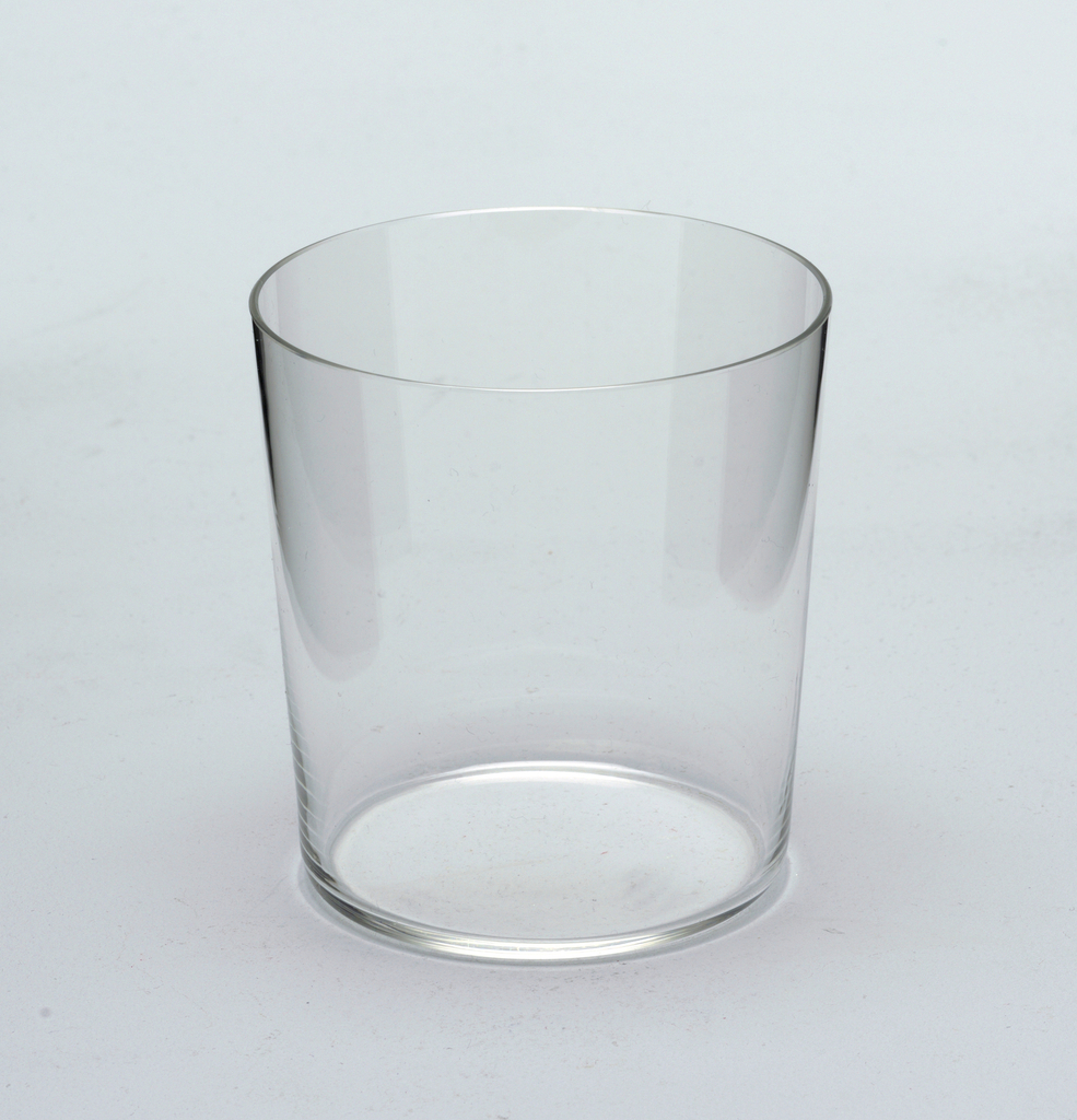 "Thinnest mouth-blown crystal (""Muslin glass"") water tumbler."