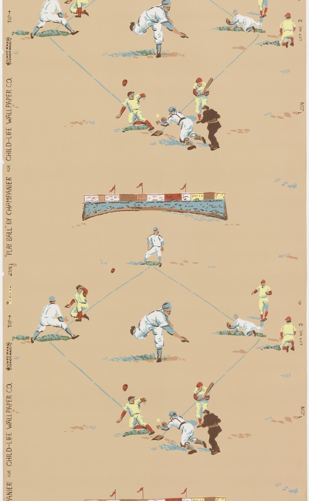 Children or boys' paper. A baseball diamond with a game in action. Two teams, one dressed in white and blue, the other in yellow and red. A stand of bleachers with billboards separates the ballfields. Printed on a tan ground.