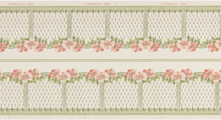 Floral border, grouping of three pink poppies connected by vining arch. Beneath, fill of stylized floral motif. Printed on white ground.