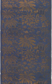 Metallic gold design of palm trees and buildings on a royal blue ground.