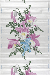 White and pink orchids with green foliage with a blue ribbon on a vertical repeat on a metallic silver ground.