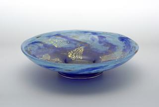 Light and Dark Blue dish with gold flecks.
