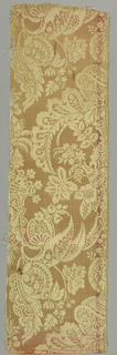 Light orange and white silk damask used to line a cape (1962-56-64-a/c).