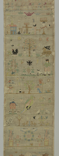 """Geometric and floral cross borders with alphabets and numerals.  Biblical scenes, people, birds and animals.  Initialed """"I. E. R."""" with the year """"1791."""""""
