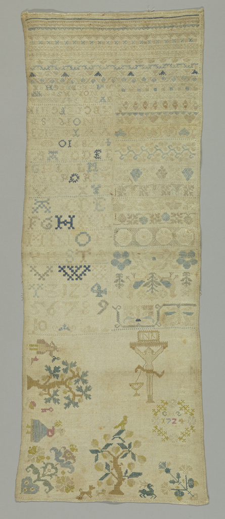"""Divided into two sections. First section has a Crucifixion, secular scenes, floral motifs, and a wreath with the initials """"C. H. S. 1724."""" Second section: Alphabets, numerals and cross borders in geometric and floral designs."""