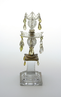 Crystal candlestick multiple yellow large crystals