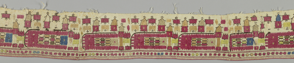 Embroidered hem cut from a woman's chemise. Design looks like an abstract village. Primarily red with brown, beige, blue, yellow, green and white on natural. Entire piece has a curved shape.