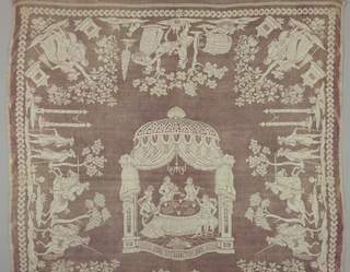 Tablecloth of white linen and light purple silk damask. Central design of four musicians at a table under a canopy. Maid and youth in each corner. Group of hunters are on opposite sides while and a man and woman stand by a table on the other two sides.