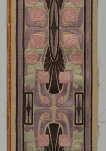 Narrow border of figured velvet on beige satin ground. Design has a dark brown geometrical framework surrounded by square stylized roses with pale green leaves.