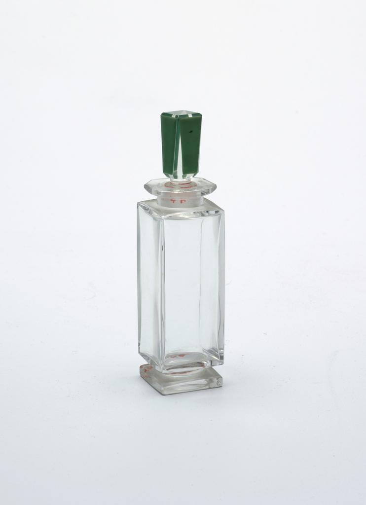 Green stopper, square shaped bottle