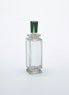 Green stopper, square shaped bottle