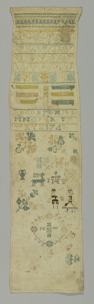 """Geometrical cross borders, alphabets, numerals above a panel partly filled with detached motifs including flowers, animals, people and the initials """"M.W."""" in a wreath."""