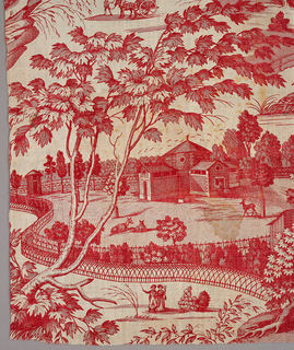Design in red on white ground of a zoological park with fenced enclosures containing animals. People strolling. Chef de piece present at upper edge.