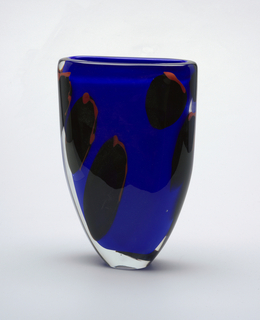 Glass vase of ovoid shape with red, black, and blue sweeping pattern.