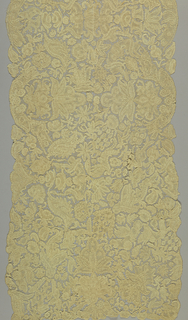 Panel in large scale floral pattern interspersed by stylized vase shapes.