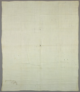 Length of fine cream-colored linen has a small bird's eye pattern. Hemmed at ends.