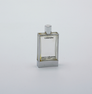 Empty bottle with silver trim