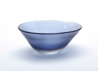 Translucent periwinkle blue wide-mouthed bowl; wheel-cut surface.