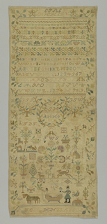 "At top, cross borders showing alphabets, numbers, floral and geometric designs and ""A G F den 10 July"" (Angefangen 10th July); below, scattered motifs including a wreath with ""D S M CG G ANNO 1806,"" flowers, animals, people in a sleigh, and ""F E G W den 23 AUGUS"" (Fertig Guersen August 23rd)."