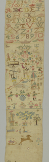 Very long vertical sampler with horizontal bands of  geometric pattern, alphabets, and spot motifs.