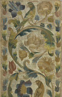 Large-scale design of flowering rinceaux with perching birds. White background and couching technique. For other component of 1944-56-6-a,b see -b, which is deaccessioned.