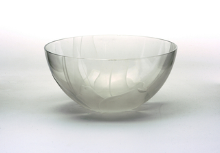Clear glass with frosted decoration ( Small chip on rim)