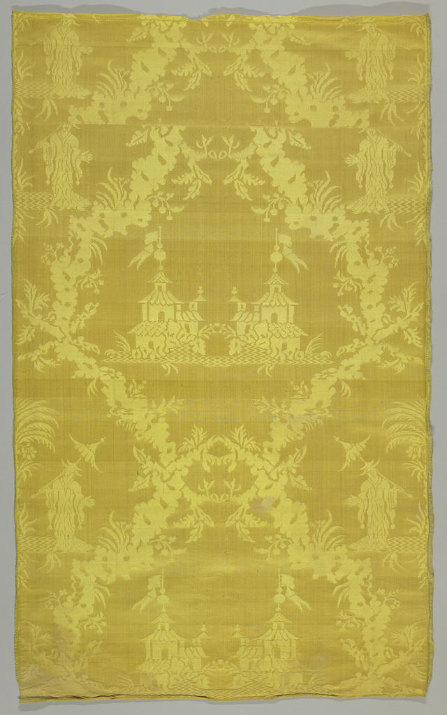 Nineteenth-century copy of an eighteenth-century Louis XV chinoiserie damask in bright yellow with a pattern of figures, festoons and pagodas.