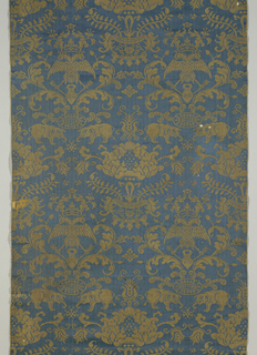 Length of damask, blue warp, white weft. Vertically symmetrical pattern with double-headed eagle, large flower in a pot and elephant. White pattern, the warp-float face of the satin. Blue background, the warp-float face of the satin.