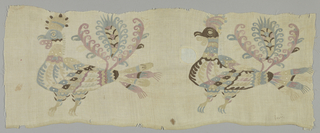 Two birds with wattles and dome-like shapes on their heads in faded pastel colors.