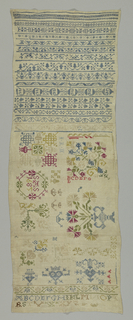 """Fifteen cross borders in geometric and floral patterns and below, in a panel, the initials """"S A S"""" and date """"1685"""" in a wreath, floral ornament, crowns and alphabet."""