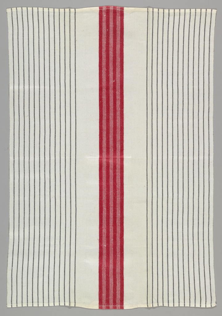 A. Red central stripe of twill; 13 narrow black stripes at each side. B is the same except central stripe is black.