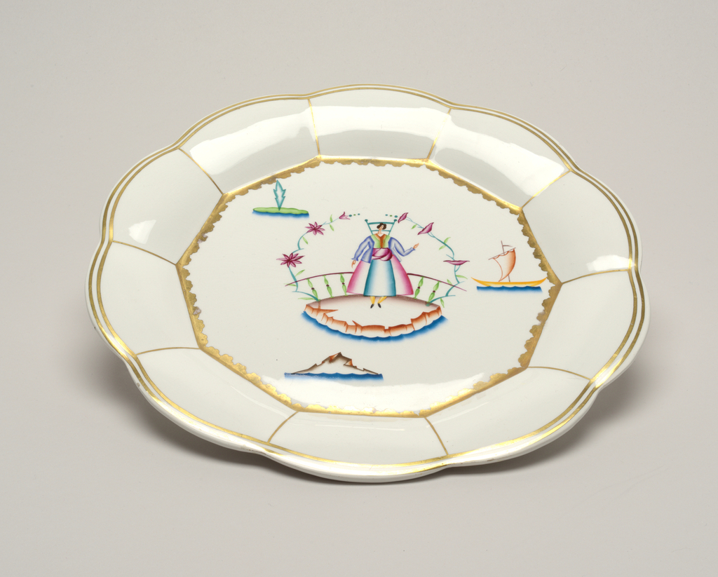 Plate with lobed rim decorated with gilt border and lines; scalloped band around inner edge, surrounding stylized polycrome and gilded decoration of a woman standing below a flowered arch, before a balustrade; a few boats in the background.