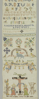 Cross borders in floral and geometric patterns at the top and below; alphabets, numerals, and date in wreath; Pascal Lamb, Crucifixion with inscriptions, animals, birds and flowers.