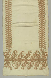 "Rectangular white panel or ""paño de ofrenda"" embroidered on four sides with bands of scrolling shapes."