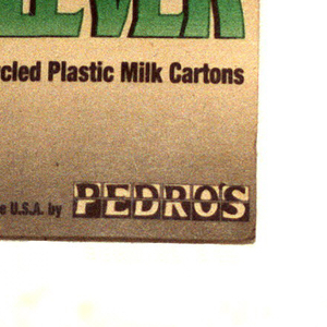 plastic recovered from recycled milk containers