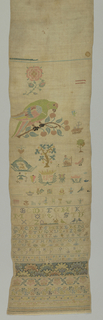 Spot motifs including a large parrot; alphabets and bands of floral pattern.