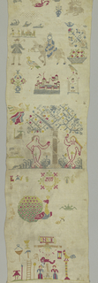 Three religious scenes (Flight into Egypt, Garden of Eden, Crucifixion) with scattered motifs.
