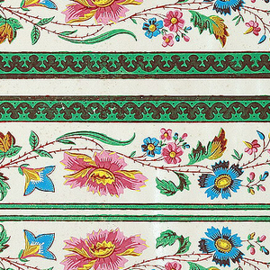 Printed four borders across width, continuous stylized floral garland on cream/peach satin ground with green banding at edges.