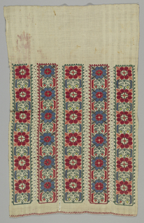 Piece of white cotton with five vertical embroidered stripes separated by lines of drawnwork. The stripes are alternately of red flowers, blue leaves, yellow buds and blue flowers, red leaves and orange buds. Ornamental hem of red cross stitch.