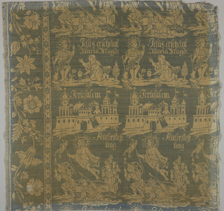 "White linen warp and blue linen weft form a reversible textile. At left and bottom of Component A and left of Component B is a broad, large-scale floral serpentine border. Central portion has repeat of three horizontal rows of design. At bottom: Christ rising from the tomb with the inscription, ""Auferstehung."" Middle row: a group of buildings with the inscription: ""Jerüsalem."" Third row: Jesus appearing to Mary Magdalene with the inscription: ""Jesus erscheint Maria Magd."""