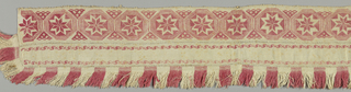 Border from a table cover or hanging made from three pieces stitched together. The top has a repeat of a star in an octagon in red embroidery. The middle piece has a narrow scroll in red embroidery along the top and bottom edge. The bottom has a woven tape with weft fringe alternately red and white. The tape turns the corner at one end and ends halfway up the side.