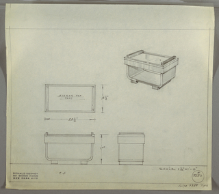 "Design for low occasional table with mirror tray top seen in plan, front and side elevations, and perspective. At upper right, perspective describes rectangular occasional table perched perpendicularly on two runners. Table supported by angular U-shaped structure creating lower shelf and terminating at top in thick cornice-like band into which is set a mirrored tray with handles running its depth. At center left, plan describes object footprint while below, left and center, elevations provide further specs. Margins ruled in graphite. Inscribed with Deskey No. 8280 with note in lower right margin citing ""SUITE 7389 SOFA."""