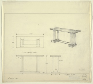 Four drawings for table:  center left, in plan; center right, in perspective, lower left, from front; lower center, in plan.  Design for side table, top and base (probably) in burled wood, double barrel u-shaped legs on each side, in metal.