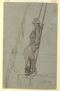 Vertical view of a young man leaning against the rigging of a sailboat.