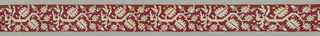 Strip of insertion in a design of scrolling angular oak branches with foliage and acorns in reserve on the linen ground. Background of drawn work embroidered with red silk.