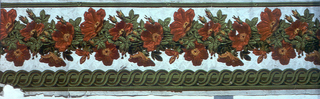 """Two pieces of same design, continuous flocked and printed floral garland with flocked green guilloche band on light gray satin ground. """"a"""" has half a maker's stamp on recto at end of roll."""