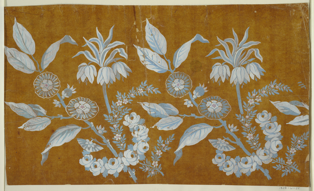 The repeats, somewhat more than two which are shown, consists of three flower boughs which are surrounded by a rose garland and obliquely shown.