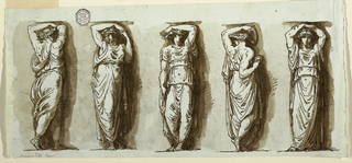 Figures, one beside other. First and fourth figures, seen with upper part of bodies from back, legs in profile; Second and fifth figures raise both arms, while third and fourth raise only their left arm.
