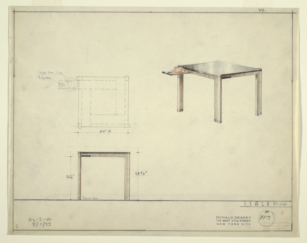Drawing, Table with Slide for Cup-and-Saucer and Ashtray