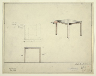 Cardd table in three drawings:  upper left, in plan; upper right,in perspective; lower left, from front.  Square card table in wood with metal feet and black glass or plastic laminate top.  Each side has pull out tray for cup and ashtray. Dimensions on two left drawings.